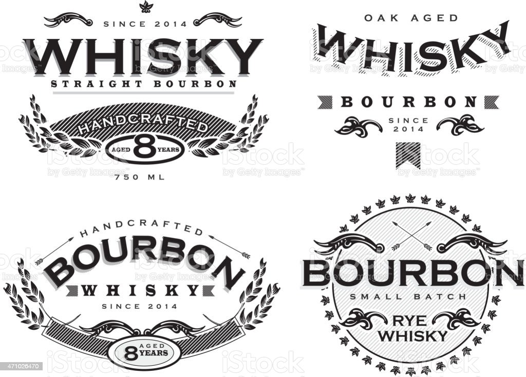 Set of four black and white retro Bourbon Whisky labels vector art illustration
