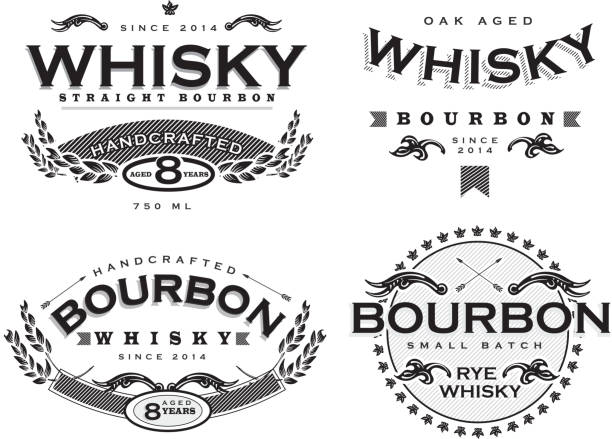 zestaw czterech czarne i białe etykiety retro bourbon whisky - whisky stock illustrations