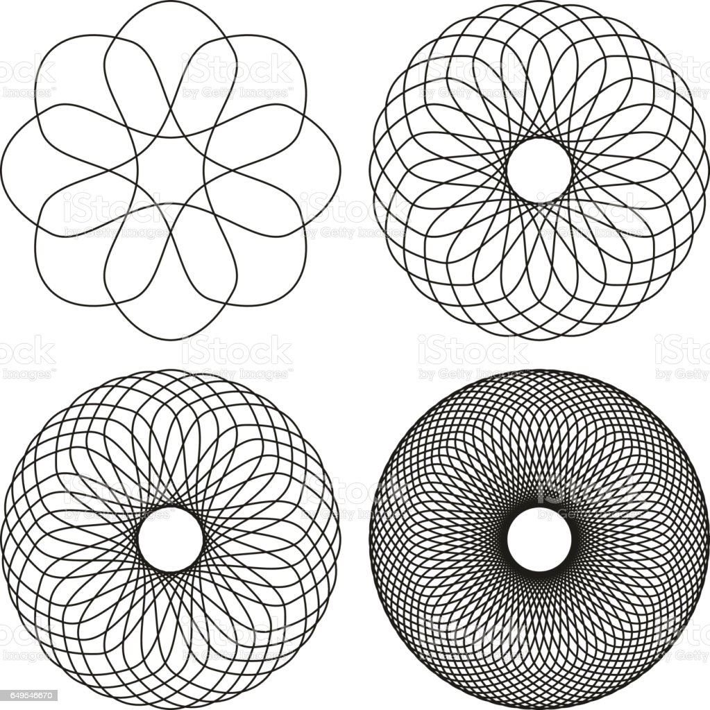 Set of four black line spirograph abstract elements vector art illustration