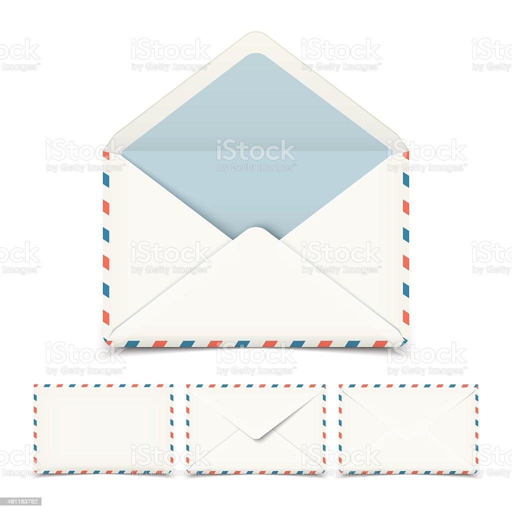 Set of four blank white vector envelopes isolated on white vector art illustration