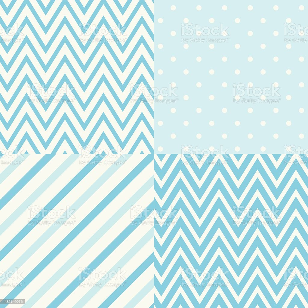 Set of four blue and white seamless geometric patterns. Vector. vector art illustration
