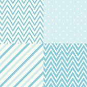 Set of four blue and white seamless geometric patterns. Vector.