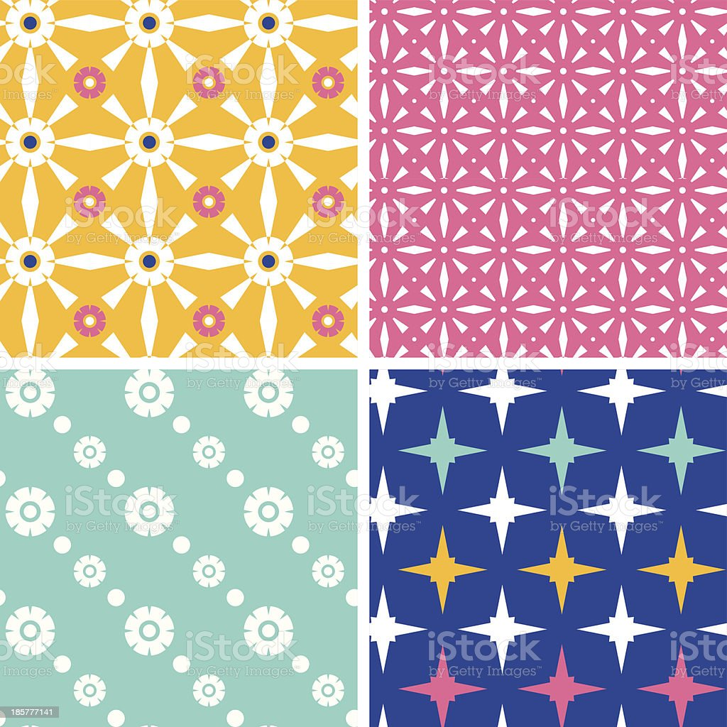 Set of four blue yellow pink geometric patterns and backgrounds royalty-free set of four blue yellow pink geometric patterns and backgrounds stock vector art & more images of abstract