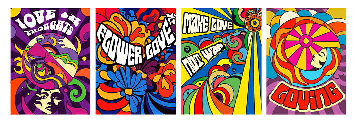 Set of four bright psychedelic Love posters