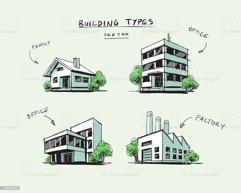 Set of four buildings types hand drawn cartoon for Residential building drawings download