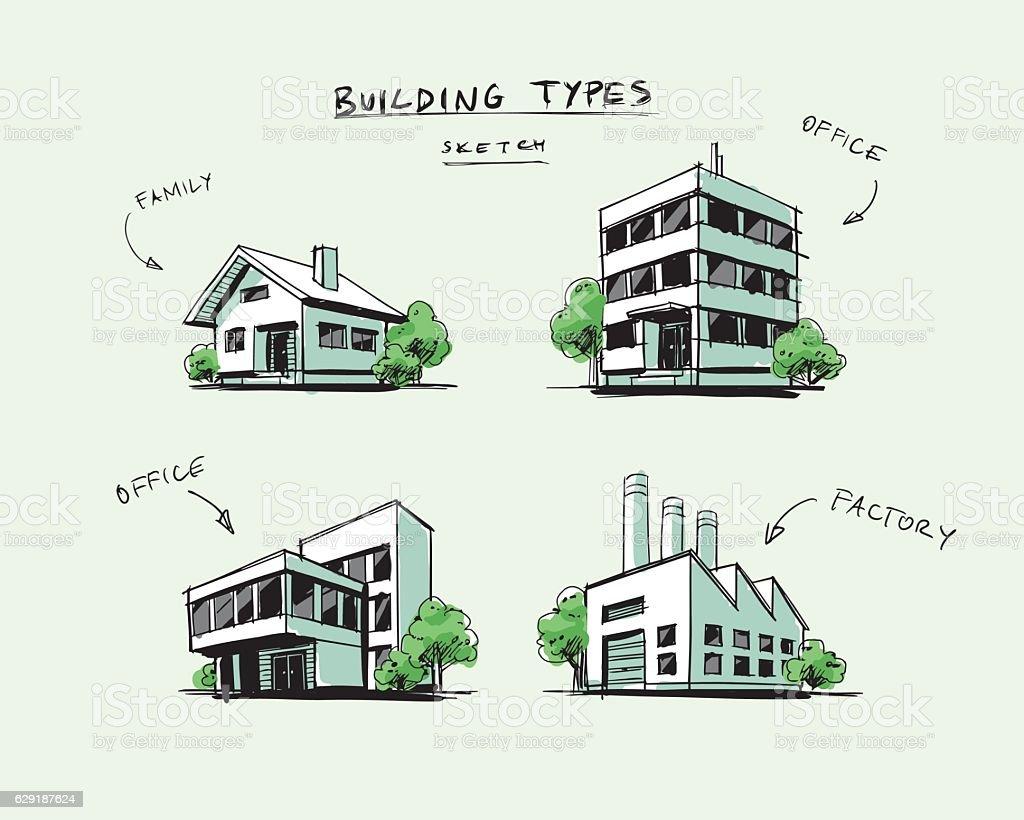 Set of Four Buildings Types Hand Drawn Cartoon Illustration vector art illustration