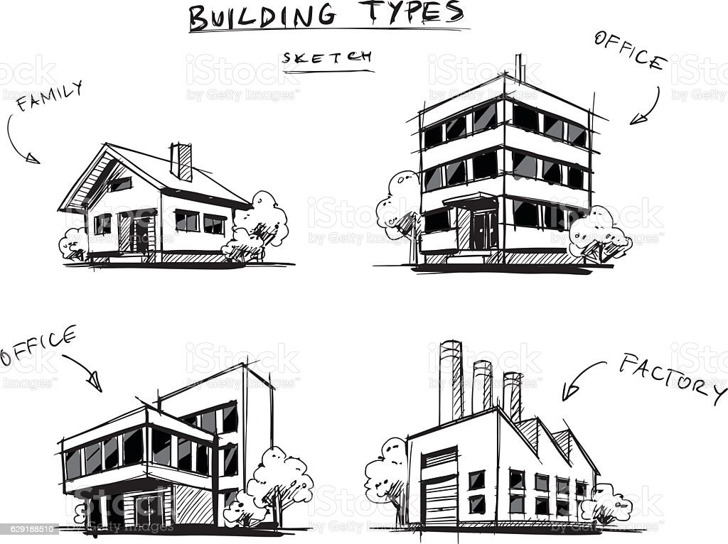 Set of Four Buildings Types Hand Drawn Cartoon Illustration vector art illustration