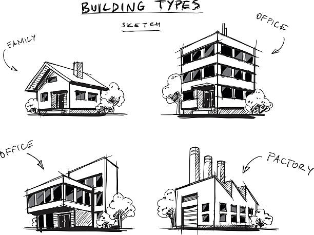set of four buildings types hand drawn cartoon illustration - urban fashion stock illustrations, clip art, cartoons, & icons