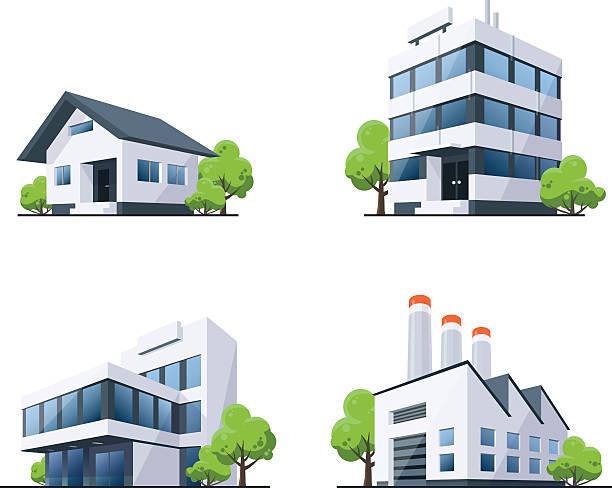 ilustrações, clipart, desenhos animados e ícones de conjunto de quatro edifícios tipos ilustração com árvores - arranha céu