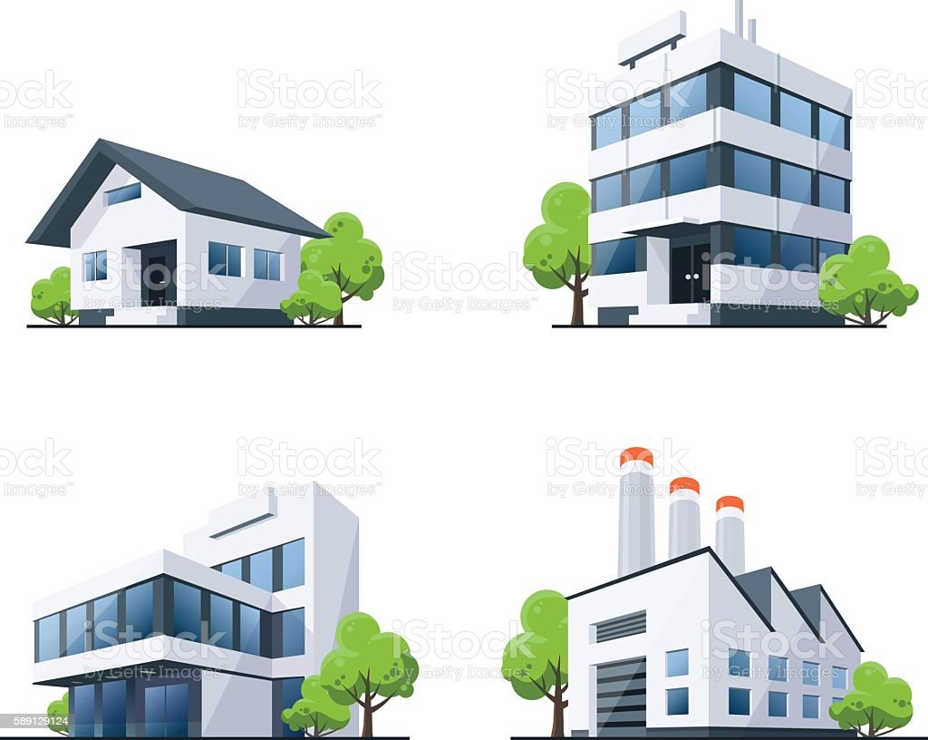 Set of Four Buildings Types Illustration with Trees vector art illustration