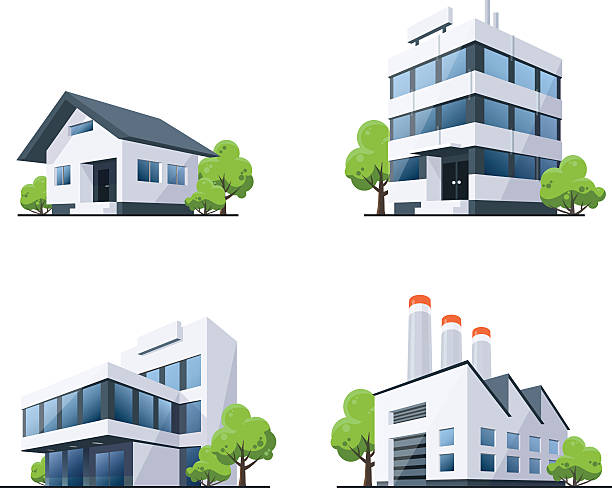 Set of Four Buildings Types Illustration with Trees Four vector buildings illustrations in perspective view with green trees in cartoon style. Family house, work office and factory building. clip art stock illustrations