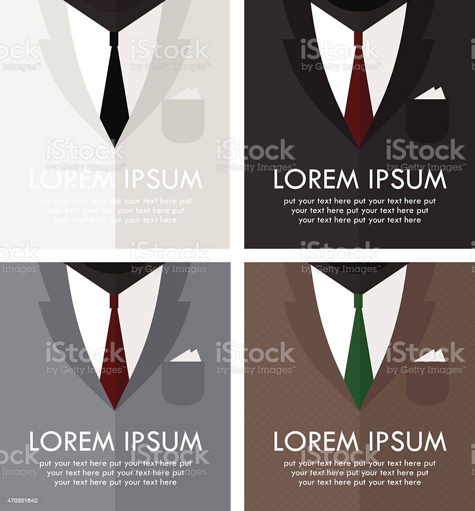 Set of four business man's suits in different color