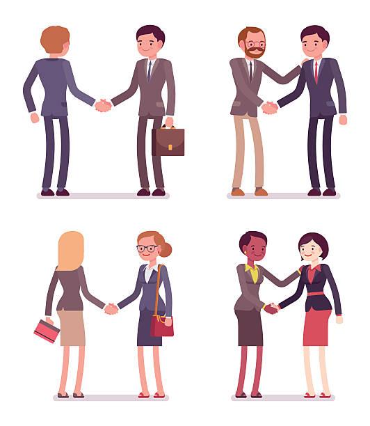 Set of four business pairs handshaking - Illustration vectorielle