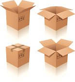 Set of four cardboard boxes on white background