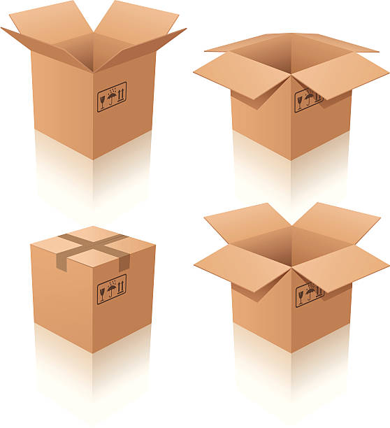 Set of four cardboard boxes on white background Vector illustration of cardboard boxes. Closed and open cardboard box stock illustrations