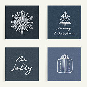 Set of four cards. Hand drawn gift, snowflake and Christmas tree. Winter holidays. Backgrounds with wishes