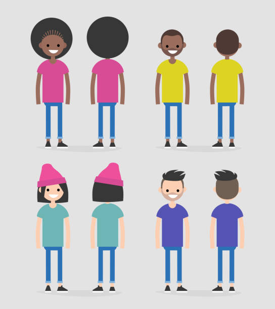 Set of four characters, front and back views. African american and caucasian males and females. Flat editable vector illustration, clip art Set of four characters, front and back views. African american and caucasian males and females. Flat editable vector illustration, clip art millennial generation stock illustrations