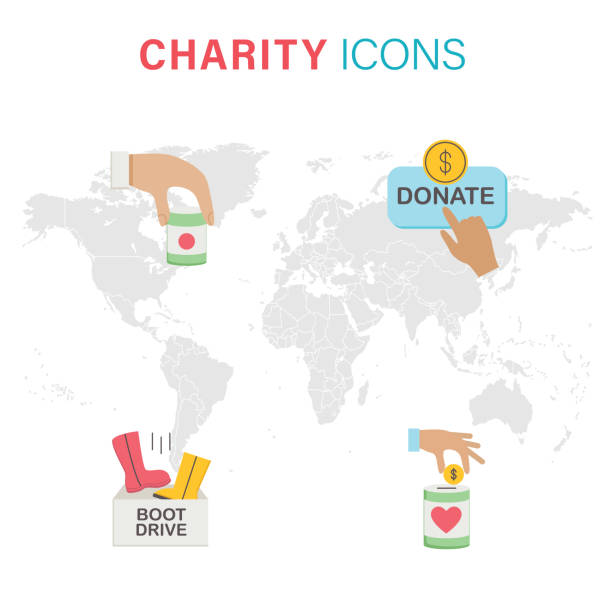Set Of Four Charity icons With Map Flat design icons. The file was created in CMKY. Each element is in it's own group. World map is on a separate layer. Comes with icons for food, clothing and money. giving tuesday 2020 stock illustrations