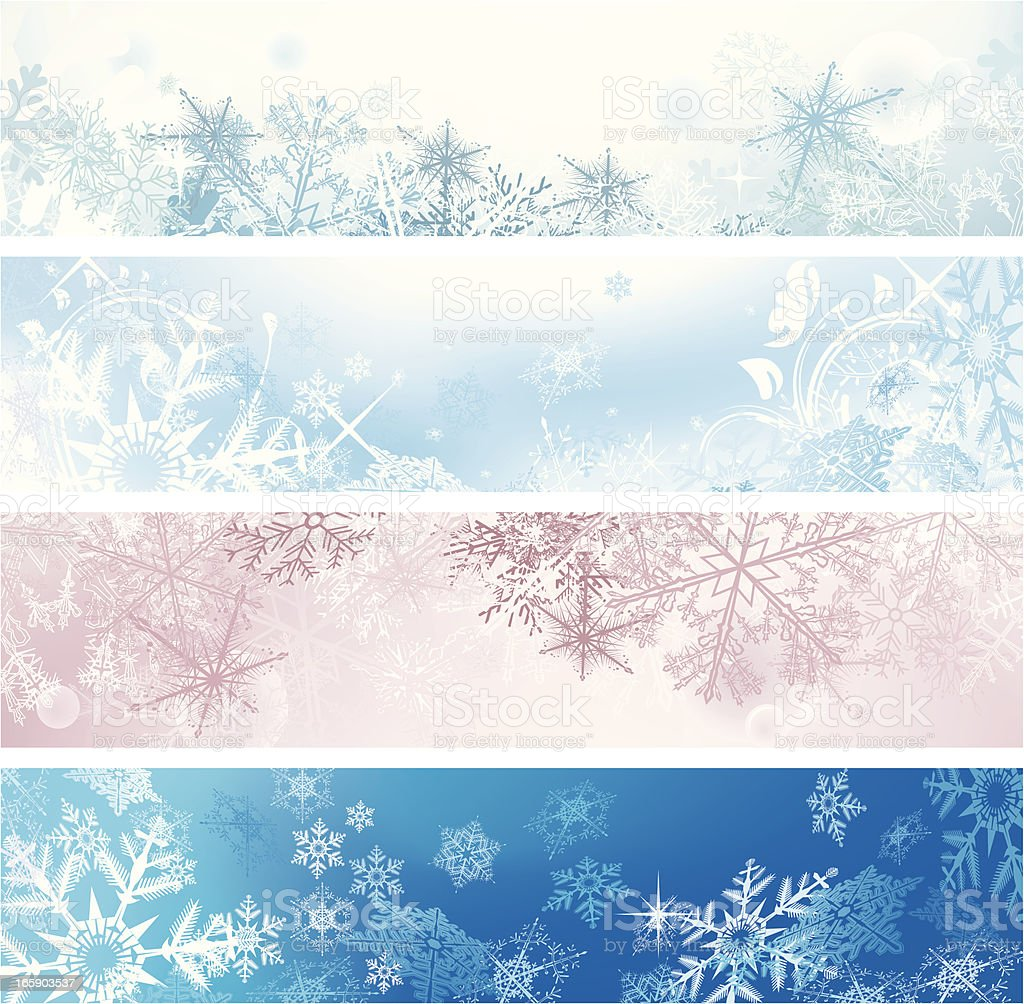 Set of four Christmas banners in various colors vector art illustration