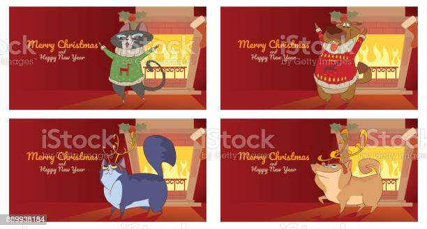 Set of four christmas cards cute cats and dogs vector id889938184?b=1&k=6&m=889938184&s=612x612&h=jemdslcsqasocbv1i1rs5sy9pywurjoajpgarp5yedg=