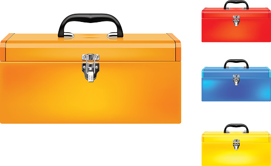 Set of four colored vector toolboxes