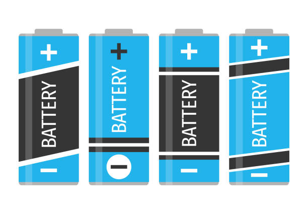 A set of four colorful batteries A set of four colorful batteries. Vector illustration lithium stock illustrations