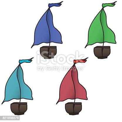 istock set of four colorful boats. Vector illustration. 821698576