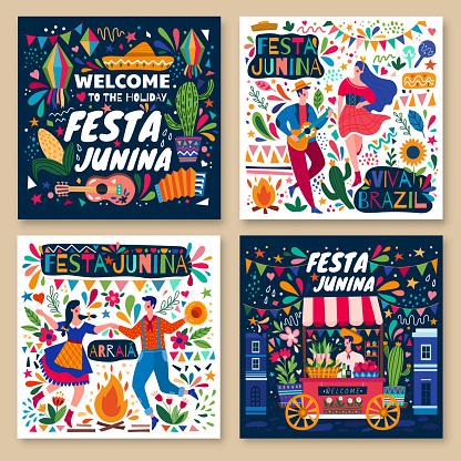 Set of four colorful Festa Junina poster designs