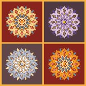 Set of four colorful oriental flower mandala. Stylish geometric pattern. Ethnic vintage pattern. Indian, asian, arabic, islamic, ottoman motif. Vector illustration.