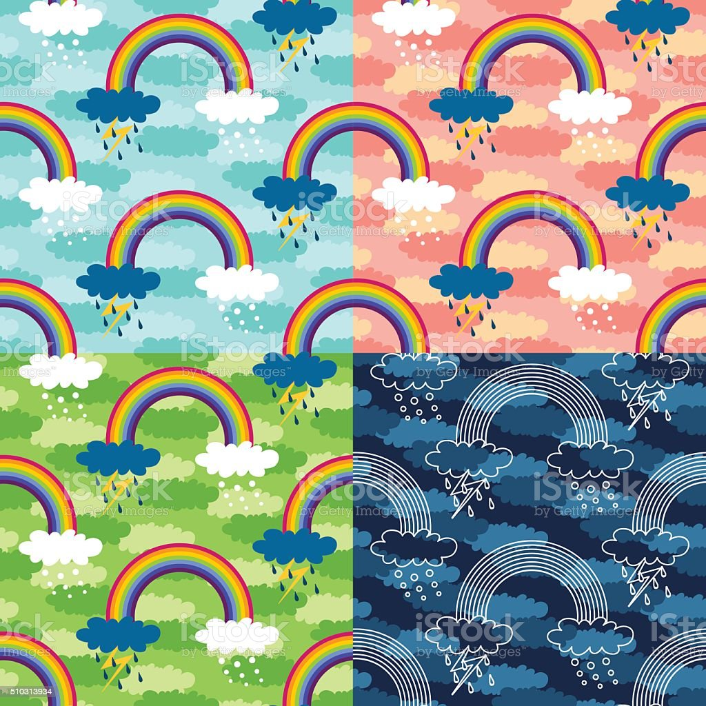 Set of four colorful seamless patterns with rainbow and clouds. vector art illustration