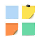 Set of four colorful sticky notes