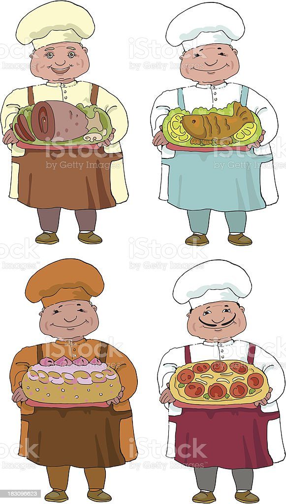 set of four cooks vector art illustration
