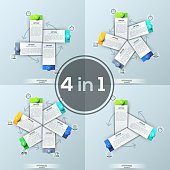 Set of four creative infographic design templates, 3, 4, 5, 6 rectangular elements placed in circle connected with arrows. Vector illustration for website, banner, presentation, report, brochure.