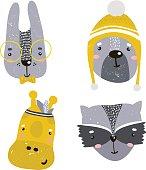 Set of four cute animal faces. Creative animal print bunny, giraffe,bear, raccoon, for nursery,apparel,cards. Vector Illustration