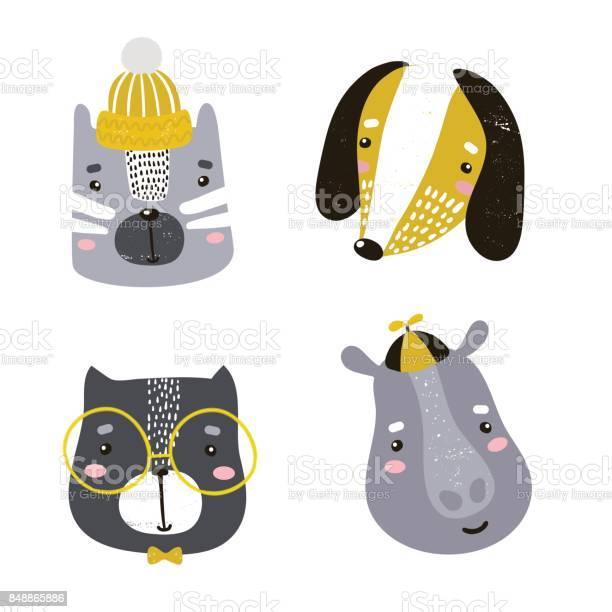 Set of four cute animal faces creative animal print cat dog hippo vector id848865886?b=1&k=6&m=848865886&s=612x612&h=w6vrpr2qxpi acnsyiap5bxj1ygoh j9xbifv7ubau8=