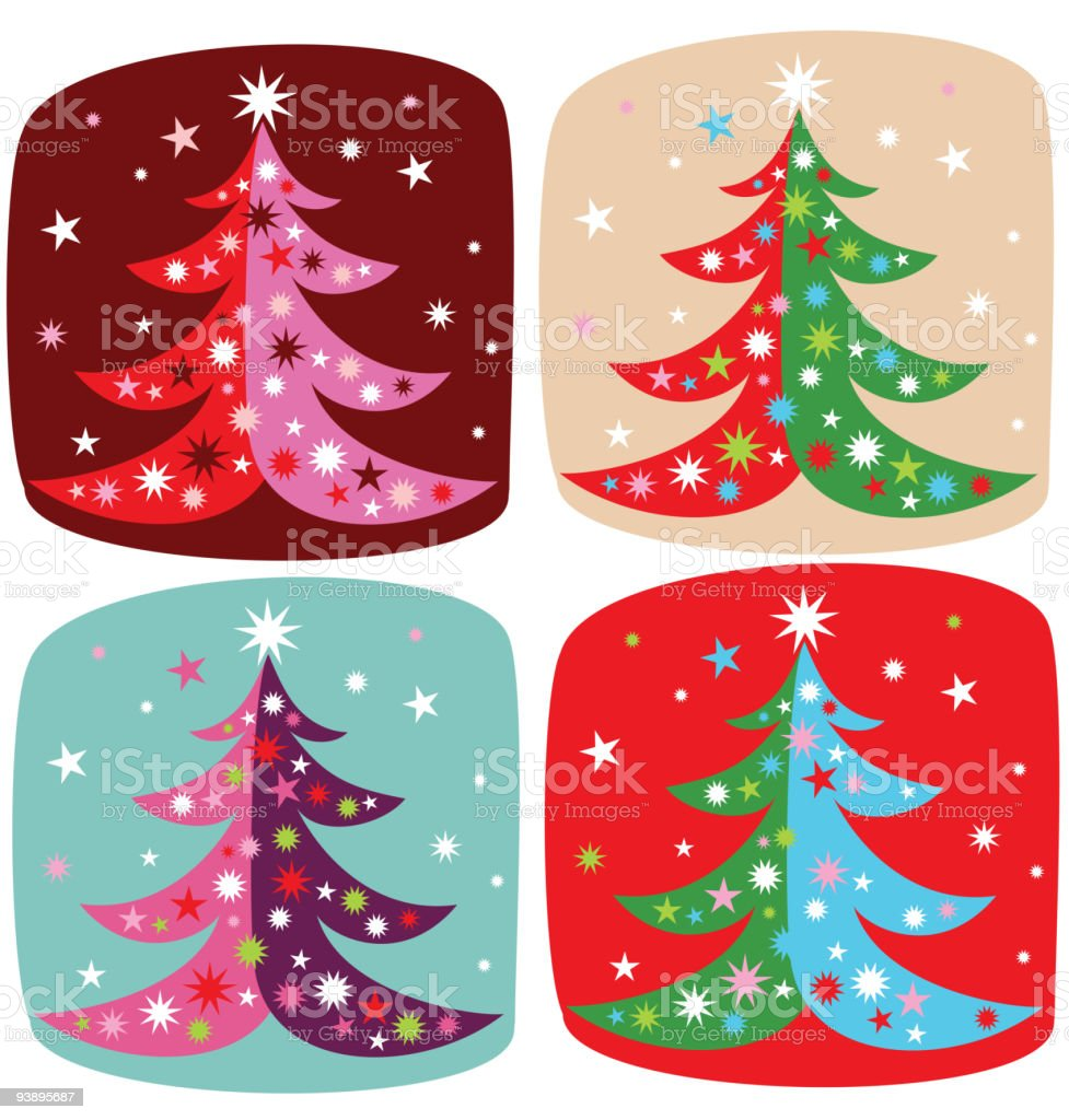 set of four decorative christmas trees royalty-free stock vector art