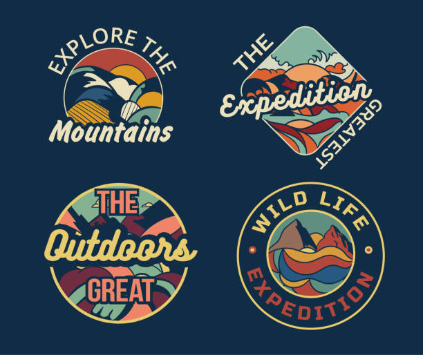 stockillustraties, clipart, cartoons en iconen met reeks van vier verschillende kampeeremblemen of kentekens - wildplassen