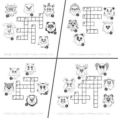 Set of four different crossword.. Education game for children with different animals. Vector illustration in sketch style