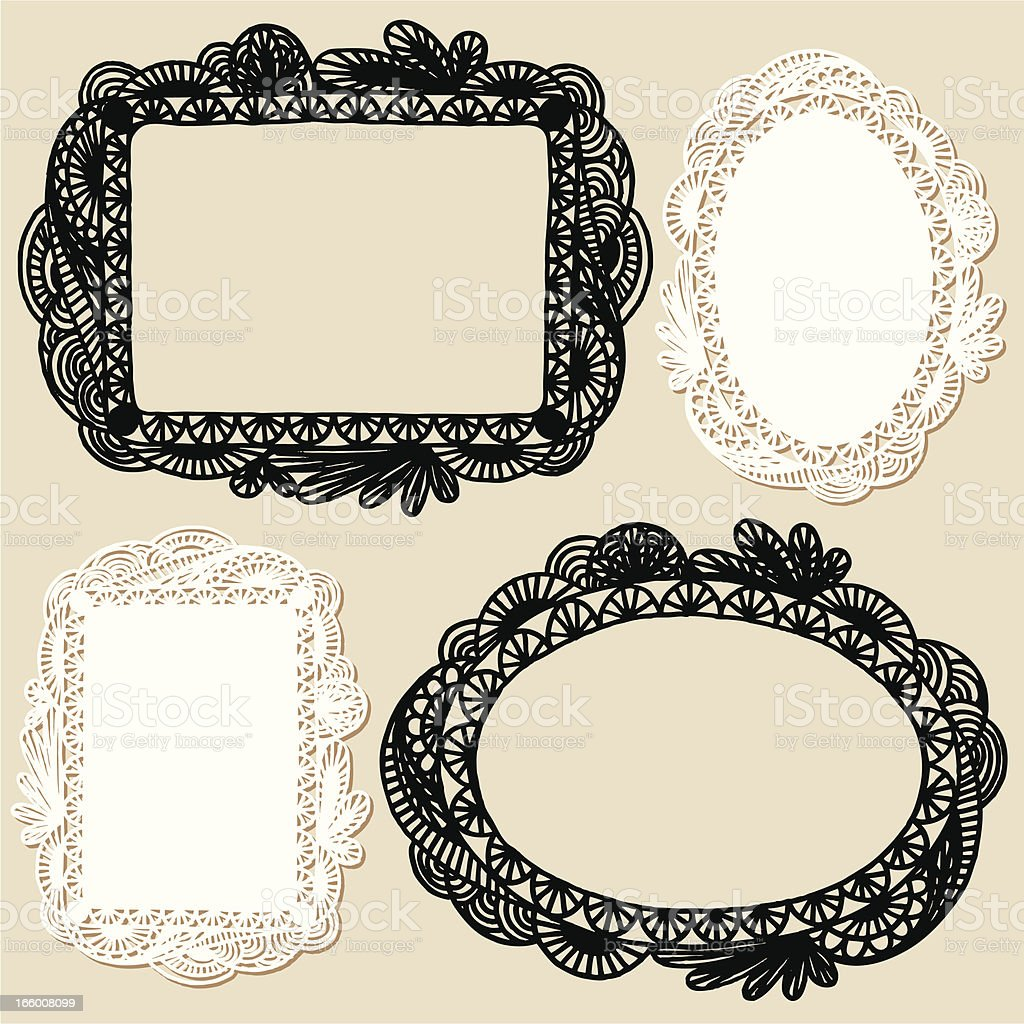 Set of four different hand drawn frames royalty-free set of four different hand drawn frames stock vector art & more images of antique