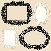 Set of four different hand drawn frames