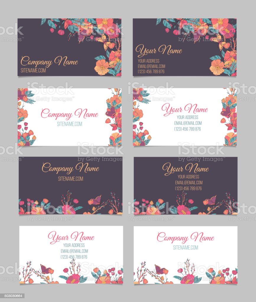 Set Of Four Doublesided Floral Business Cards Stock Vector Art ...