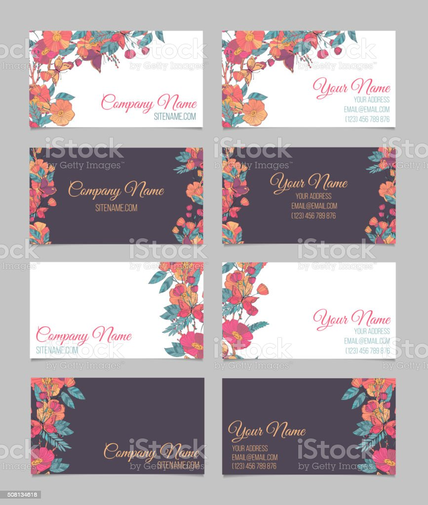Set of four double-sided floral business cards