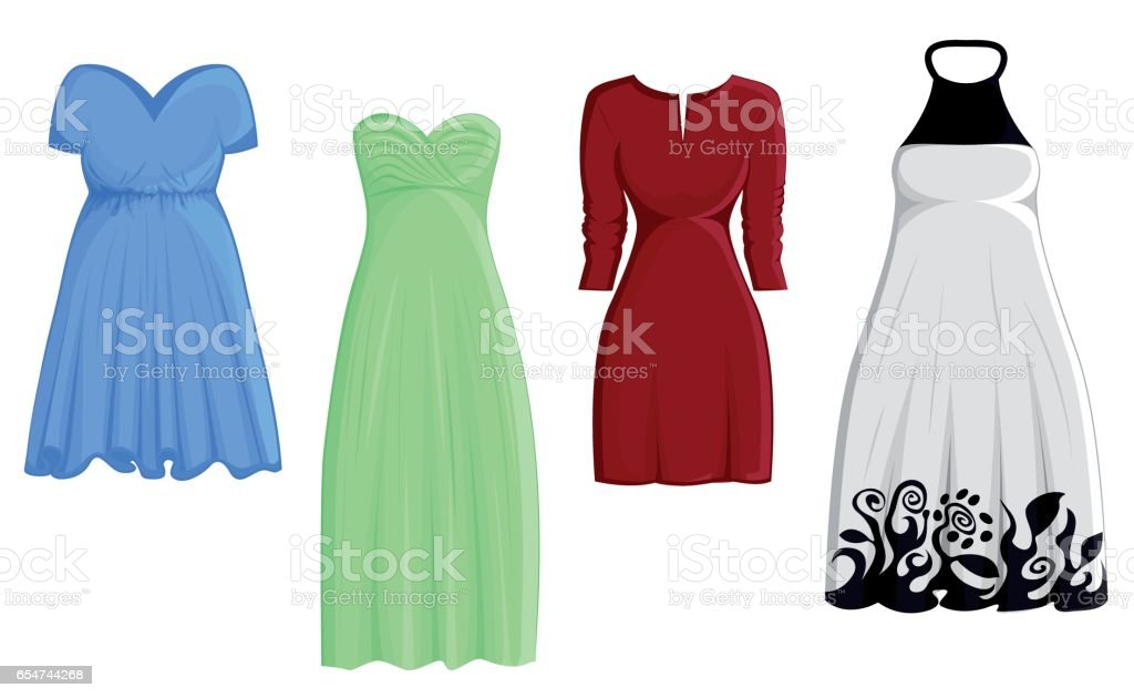 Set of four dresses vector art illustration