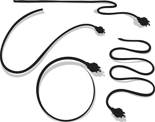 illustrations, cliparts, dessins animés et icônes de ensemble de quatre ordinateurs et un poste d'électricité prise cordon de silhouettes - rallonge électrique