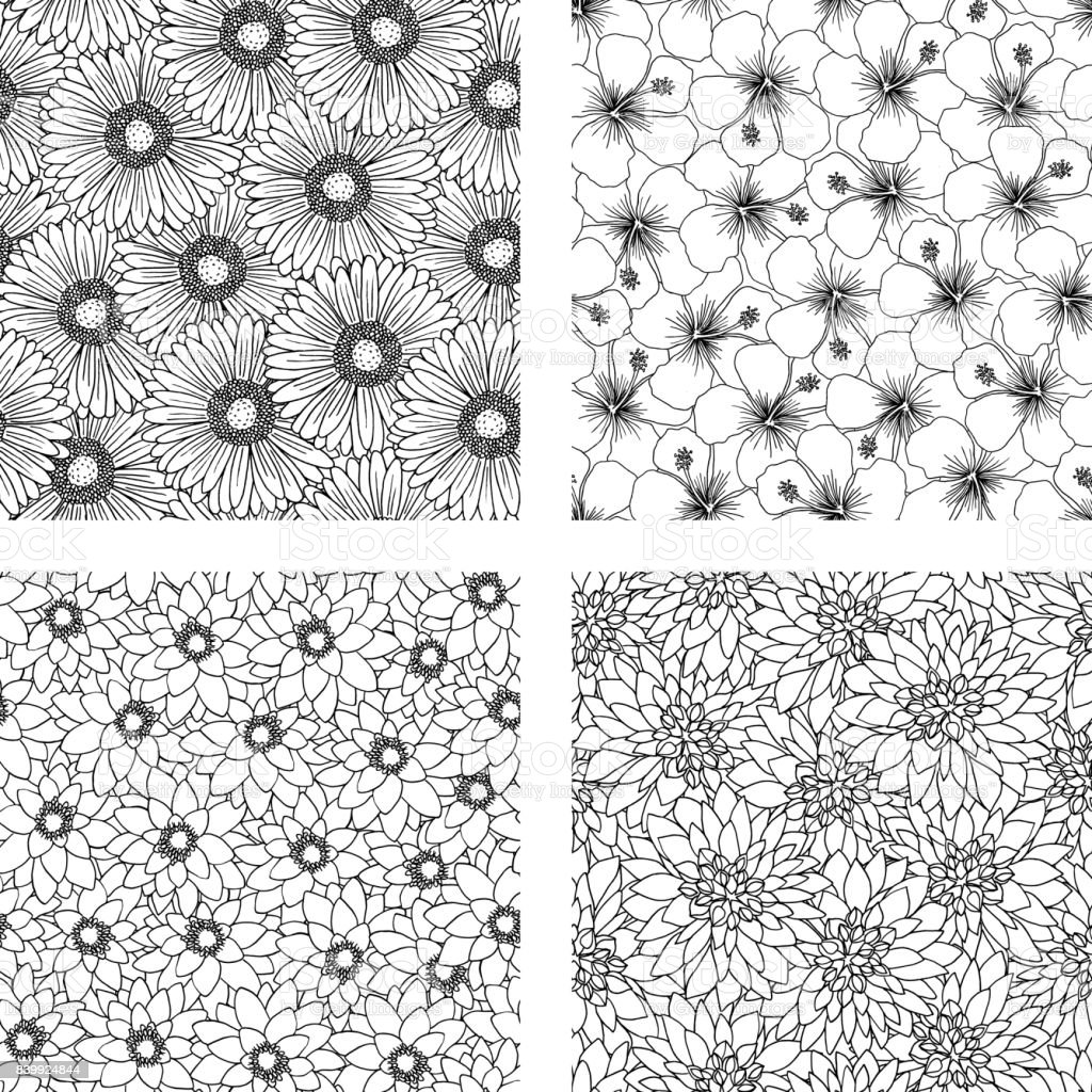 Set of four floral background patterns royalty-free set of four floral background patterns stock vector art & more images of backgrounds