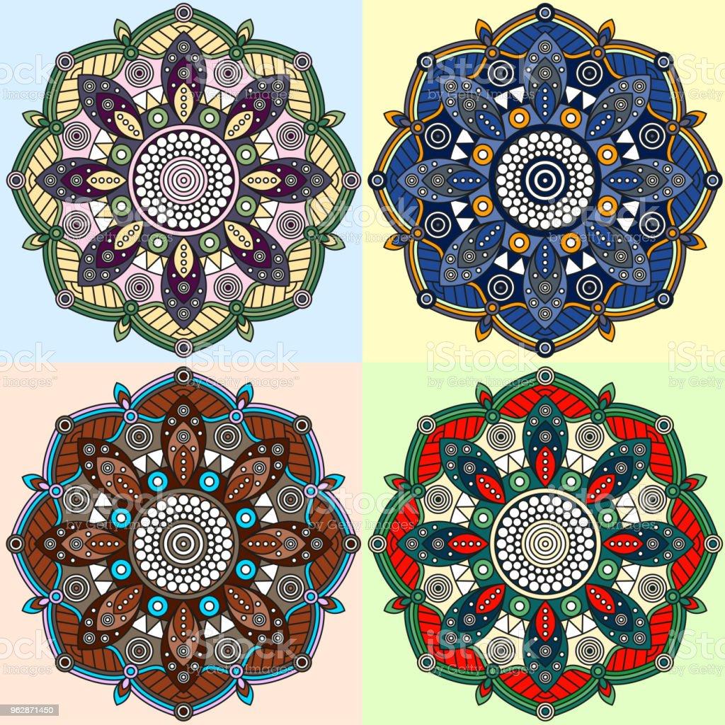 Conjunto de cuatro patrones de mandala floral. - ilustración de arte vectorial