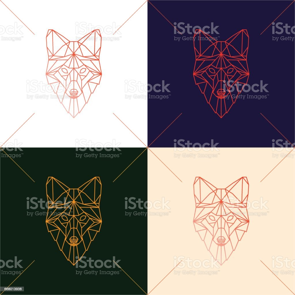 Set of four fox head geometric lines silhouette isolated on background. vector art illustration
