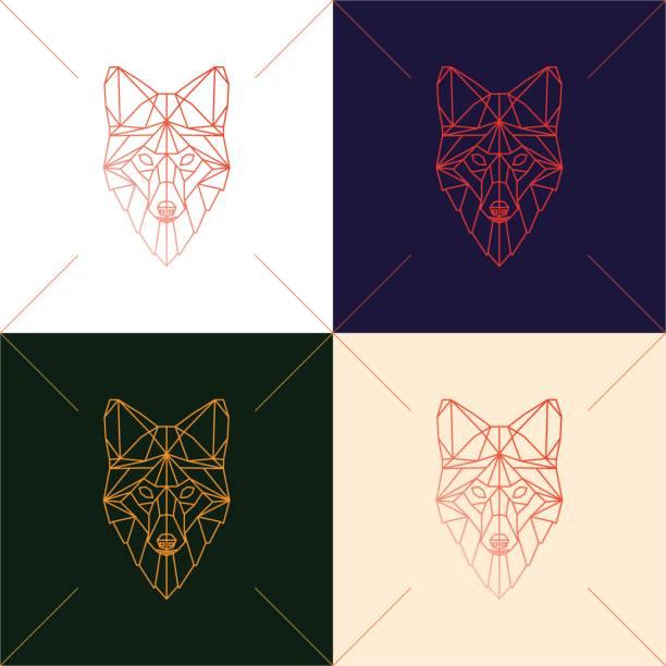 bildbanksillustrationer, clip art samt tecknat material och ikoner med uppsättning av fyra fox huvud geometriska linjer siluett isolerad på bakgrunden. - tron sci fi