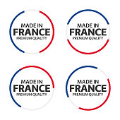 Set of four French icons, Made in France, premium quality stickers and symbols, simple vector illustration isolated on white background