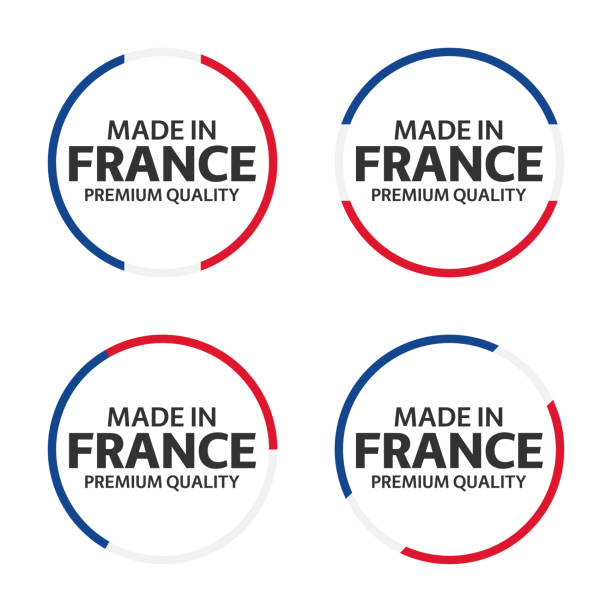 set of four french icons, made in france, premium quality stickers and symbols, simple vector illustration isolated on white background - wykonać stock illustrations